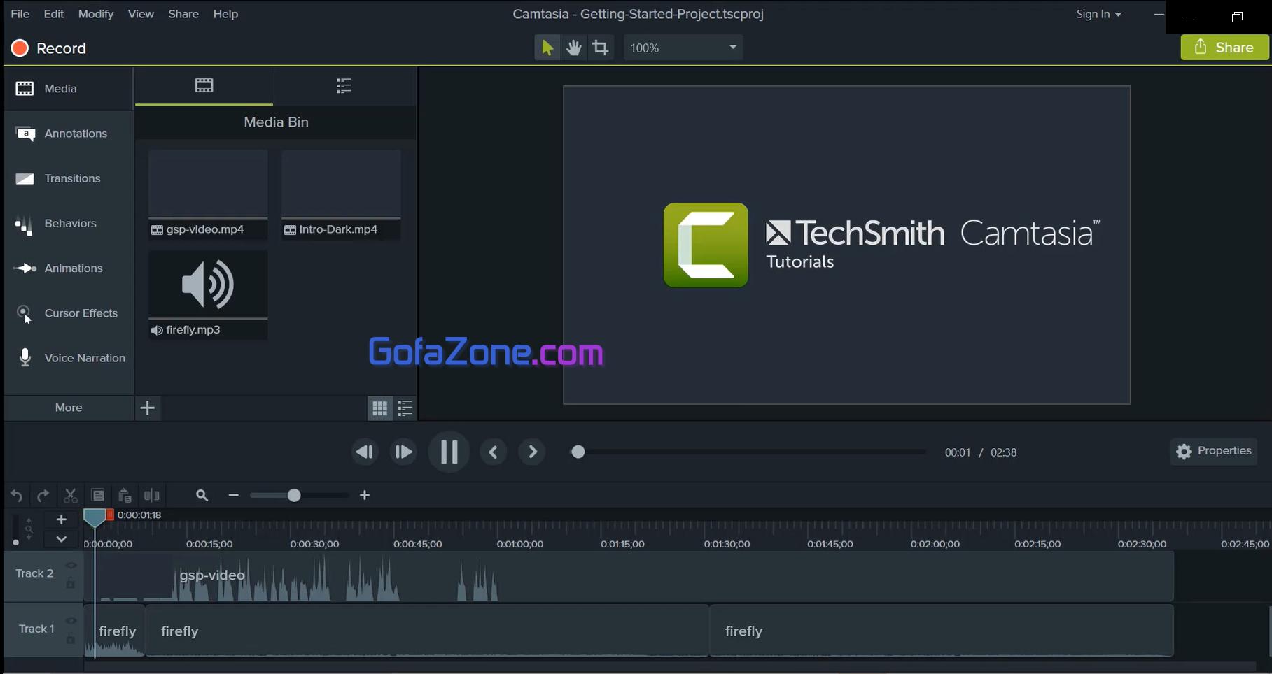 giao diện phần mềm camtasia studio 9
