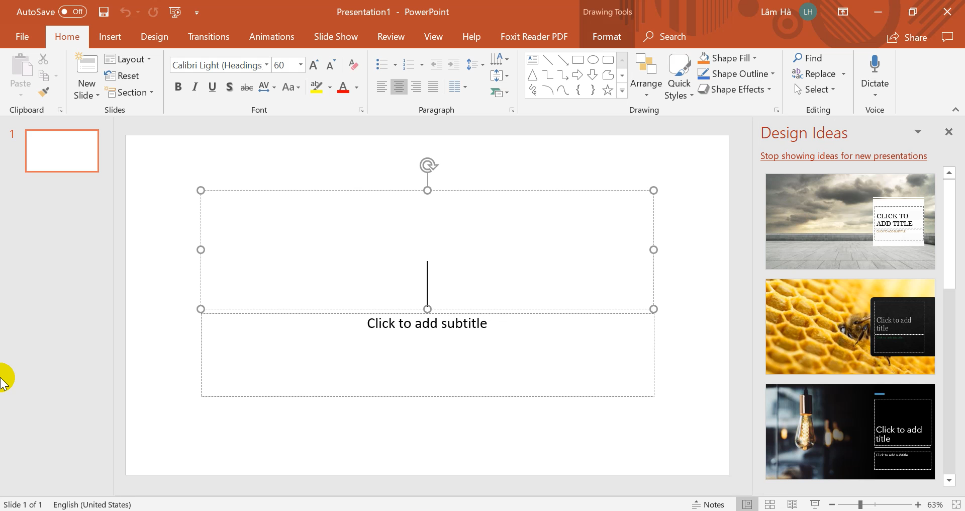 Giao diện PowerPoint 365